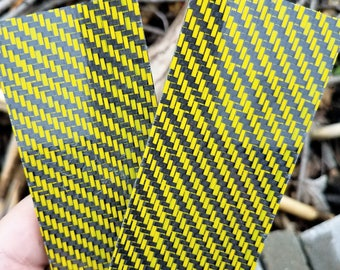 Yellow / Carbon Fiber Hybrid Knife Scales