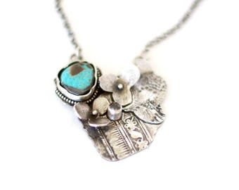 Turquoise, Sterling Silver, Crystal Quartz, Hydrangea and Lace Necklace