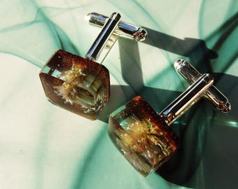 Walnut wood cufflinks Lotuses.  Mens cufflinks made of wood and resin. Wooden fashion jewelry.