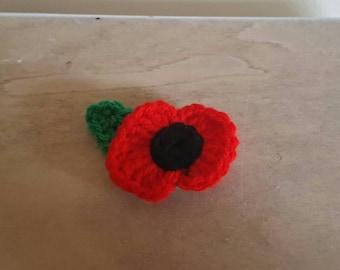 Crochet Poppy Pin