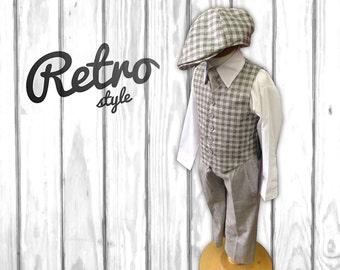Boys Retro Grey Plaid Checker 4-Piece Suit (Vest, Pants, Shirt, Tie)