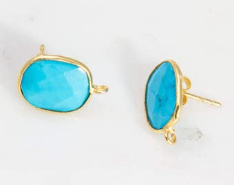 Round Turquoise Howlite Stud Earring Component, Earring Findings, Jewelry Making Supplies, Gemstone Dangle Earring Component, Jewelry Parts