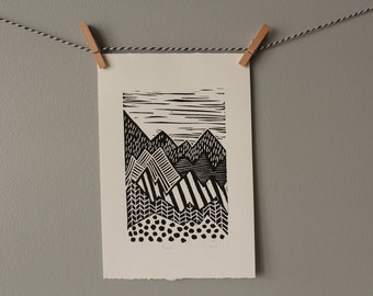 mountain print,mountains print, black and white mountain, monochrome pattern, original art, linocut,