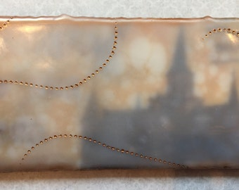 Dreamy Provo City Center temple. Encaustic beeswax painting, original painting