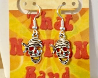 USA FREE Shipping!! That NATION Band   Skull with Scarf Earrings