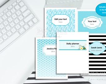 """Editable planner cover set, printable, 5 designs. Custom binder cover, digital. US Letter Size (8.5"""" x 11""""). Instant download. PDF, 300dpi"""