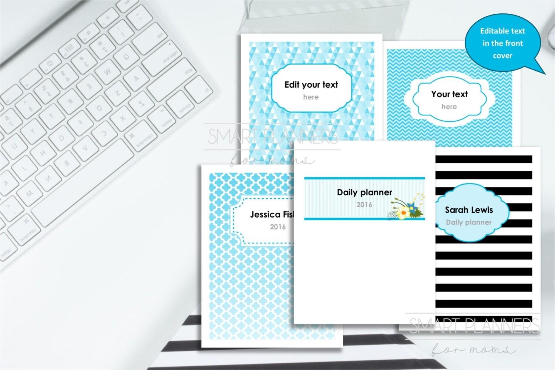 editable planner cover set printable 5 designs  custom