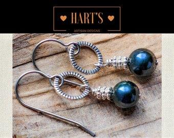 Pearl and Titanium Dangle Earrings