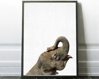 Elephant Print, Instant Printable, Elephant Wall Art, Elephant Poster, Safari Prints, Large Poster, Nursery Decor, Kids Wall Art