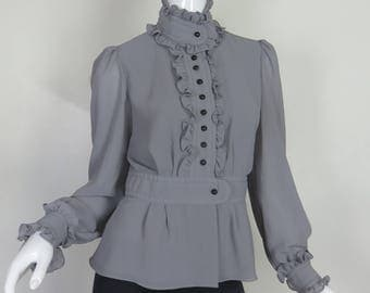 Grey Victorian Button Up Blouse Ruffle Long Sleeve Shirt Size Medium