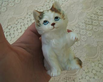 White and Brown Calico Blue Eyed Bone China Cat Statue