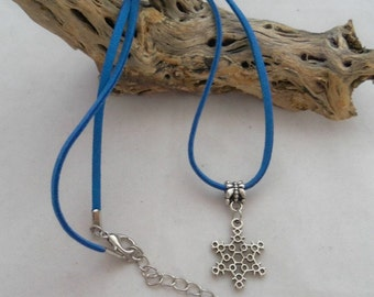 16 Inch Medium Blue Faux Suede Necklace With Snowflake Pendant (00113)