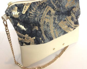 Purse in leather and denim fabric