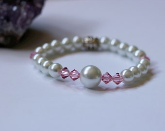 Pearl & Crystal Bracelet, Beaded Bracelet,Pearl Bracelet, Stretch Bracelet, Bridesmaid Bracelet, Friendship Bracelet, Inspirational Bracelet