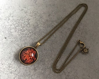 Red Queen Anne's Lace against Black Background Cabachon In Antique Bronze Resin Pendant Necklace, Resin Necklace