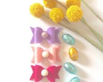 Pom Pom Bows - Baby Bows - Bow Clips - Bow Headbands - Baby Headbands - Toddler Bows - Toddler Headbands - Pastel Bows
