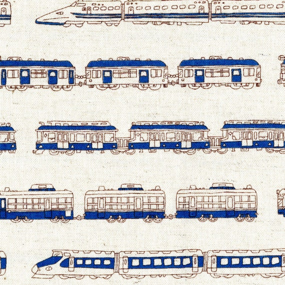 Train fabric canvas by the yard white and blue stripes for Train fabric by the yard