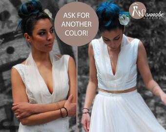 Wedding crop top with  deep V neckline, low back, silk elegant top, bridesmaid top, evening top, separates dress, cerimony top, bridal top,
