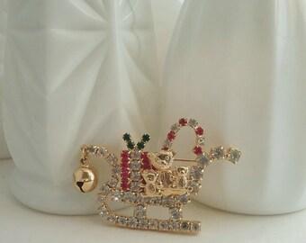 Vintage Christmas Sleigh  Pin, Christmas Sleigh Pin, Christmas Brooch, Holiday Pin, Christmas Jewelry, Christmas Jewlery, Teddy Bear Pin