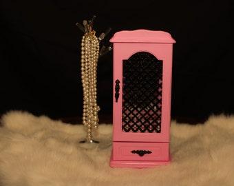 Jewelry Box Upcycled Pink Jewelry Box Vintage Jewelry Organizer Jewelry Storage Hand Painted
