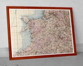 Vintage map of Wales and North England 1940 | British War Office GSGS 4369 | Old Map of; Pembroke, Manchester, Liverpool, Bradford, Leeds