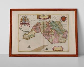 Glamorgan Antique Map | Fine Art Giclée Reproduction | Old Map of Aberdare. Bridgend. Caerphilly. Llantrisant. Maesteg. Merthyr Tydfil.