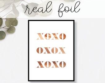 XOXO Print // Real Gold Foil // Minimal // Gold Foil Art Print // Home Decor // Modern Office Print // Typography // Fashion Print
