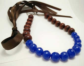 BLUE CHAI - Blue Glass and Round Wood Bead Ribbon Tie Necklace