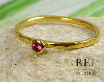 Gold Hammered Ruby Ring, July Birthstone Ring, Yellow 24K Gold 2 mm Pink Corund Ring, Stackable Gold Ruby Ring, Ruby Gold Ring, July Jewelry