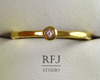 Yellow Gold Natural Pink Tourmaline Faceted Ring, 24K Gold Plated 2 mm Round Cut October Birthstone Stackable Ring, Tourmaline Golden Ring