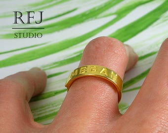 24K Gold Plated Customized Silver Initial Ring, Medium Size Personalized Name Ring, Mothers Yellow Gold   Ring, Letter Ring, Word Ring
