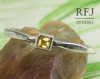Square Real Citrine Faceted Promise Silver Ring, Yellow November Birthstone Princess Cut 2x2 mm Citrine Ring Square Setting Engagement Ring
