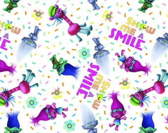 "In stock: Trolls Fabric- Trolls Characters - Show me a smile White by Springs Creative 59741 100% cotton Fabric by the yard 36""x44"" (A354)"