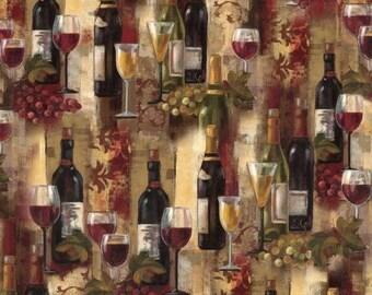 Vineyard Fabric, Wine Fabric: Novelty prints - Grapes, Wine Glasses, Wine Bottles Splendor by David Textiles 100% cotton fabric  (DA1)