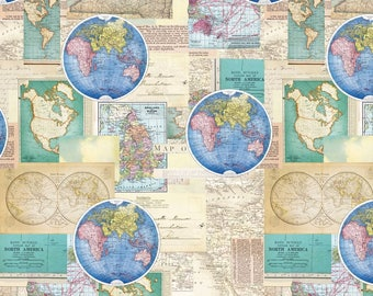 Map Fabric: Map of the world- Vintage Cartography Global Map Premium by David Textiles 100% cotton Fabric (DA37)