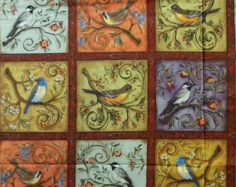 """Floral Fabric, Birds Fabric: Nestled Birds in Branches by Legacy Studios 100% cotton fabric by the PANEL 23""""x44"""" (P2)"""