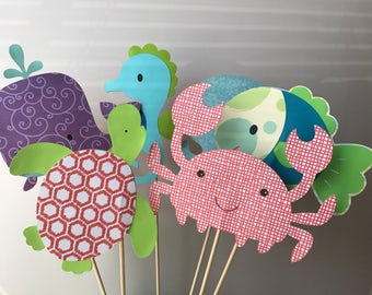 Under the sea baby shower decorations, ocean animals centerpiece, ocean and beach party, nautical themed party, whale, sea turtles, seahorse
