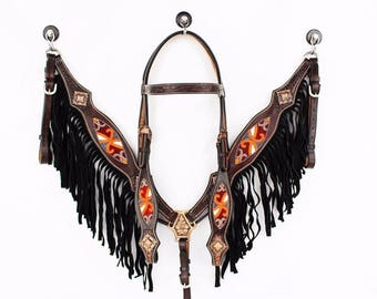 Dark Oil Hand Beaded Inlay Black Suede Fringe Western Leather Cowboy Show Horse Bridle Headstall Breast Collar Tack Set