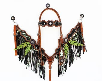 Hand Crafted Lime Green Splatter Paint Style Western Horse Headstall Bridle Breast collar Set With Fringe And Bling Crystals