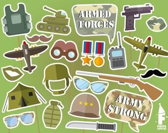Army Printable Photobooth Props - Printable  Military props - Army Party Props- Printable  Military props-  Military Printable Photobooth