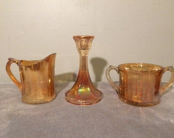 REDUCED PRICE Vintage Amber carnival Glass Set - Creamer, Sugar Bowl, and Candle Stick