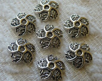 Flower Bead Caps, 10mm Hollow Flower End Caps, Antique Silver Tone Filigree Bead Caps, Beading Supplies, Jewelry Findings
