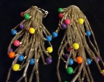vintage beaded long earrings