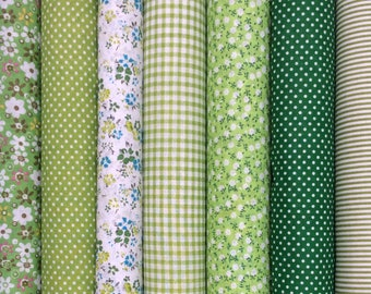 7 Green Mixed  100% Cotton Fabric Fat Quarter Bundles (Floral, Polka Dot) Craft Bunting Patchwork Sewing