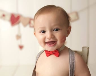 He Loves Me / Bow Tie / Newborn Prop / Newborn Boy prop / newborn bow tie