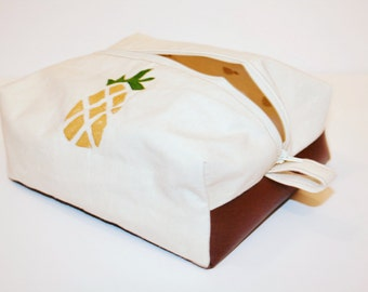 Pineapple Cosmetic Bag with Leather bottom