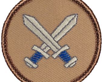 Silver Crossed Swords Patch (235) 2 Inch Diameter Embroidered Patch