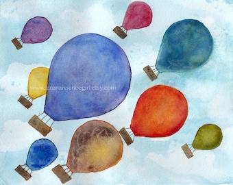 Hot Air Balloons / Fine Art Print / Balloons Print / Balloon Illustration {Watercolor Print 8X10}