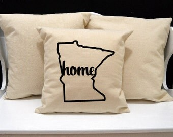 Minnesota Home Pillow, Minnesota Pillow, home pillow, pillow gift, Minnesota gift, Envelope Pillow Cover, state pillow, MN pillow, 20x20