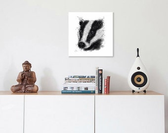 Badger painting // A4 badger print // badger gift // british wildlife print // british wildlife art // badger art print // badger drawing